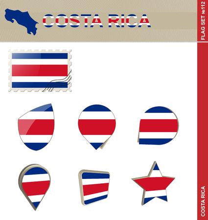 costa rica flag: Costa Rica Flag Set, Flag Set #112. Vector.