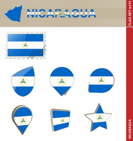 nicaragua: Nicaragua  Flag Set, Flag Set #113. Vector.