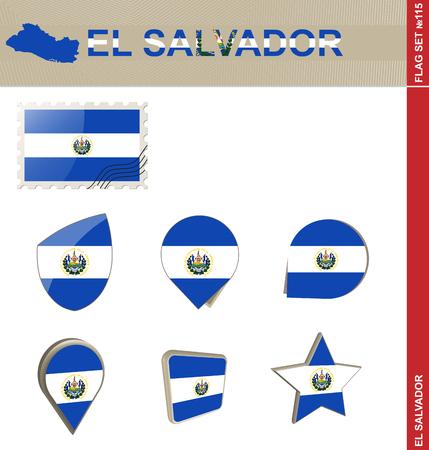 bandera de el salvador: El Set Bandera de El Salvador, Bandera Set # 115. Vector.