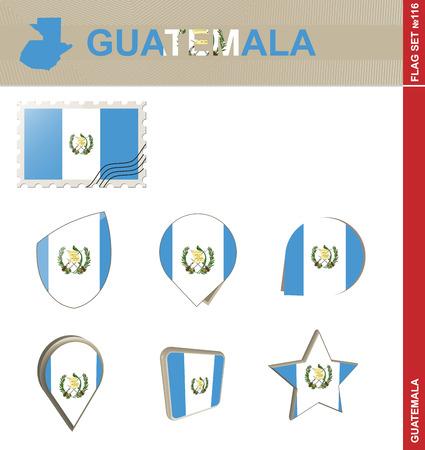 bandera de guatemala: Conjunto de la bandera de Guatemala, bandera Set # 116. Vector.