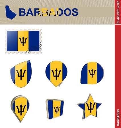 barbadian: Barbados Flag Set, Flag Set #125. Vector. Illustration