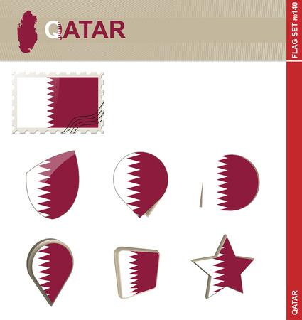 southwest asia: Qatar Flag Set Illustration