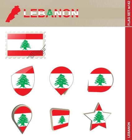 lebanon: Lebanon Flag Set Illustration