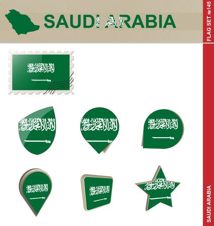 arabia: Saudi Arabia Flag Set Illustration