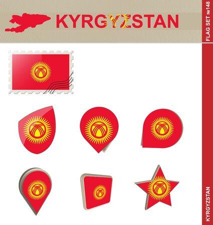 kyrgyzstan: Conjunto de la bandera de Kirguistán Vectores