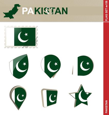 pakistan flag: Pakistan Flag Set Illustration