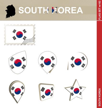 south korea: South Korea Flag Set Illustration