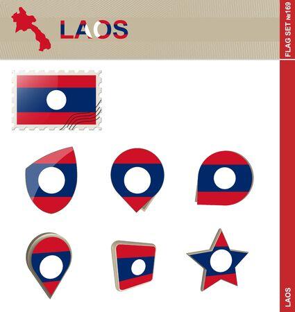 laos: Laos Flag Set, Flag Set #169. Vector.