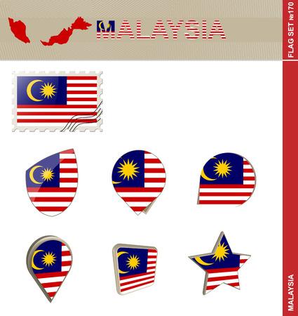 bandera blanca: Conjunto de la bandera de Malasia, Bandera Set # 170. Vector.