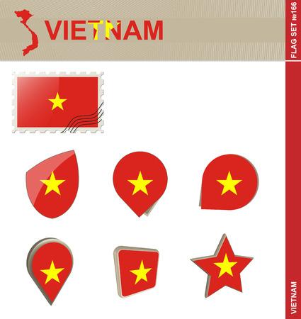indochina peninsula: Vietnam Flag Set, Flag Set #166. Vector. Illustration