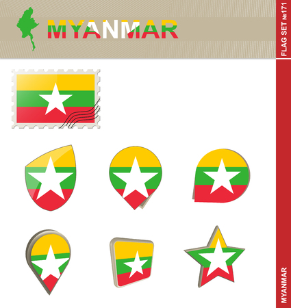 burmese: Myanmar Flag Set