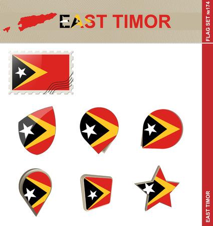 east: East Timor Flag Set Illustration