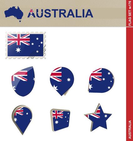 melbourne australia: Australia Flag Set