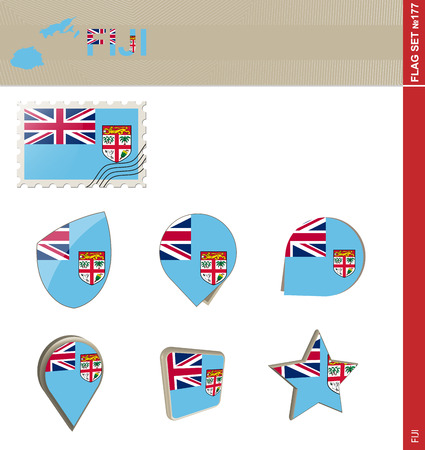 fiji: Fiji Flag Set Illustration