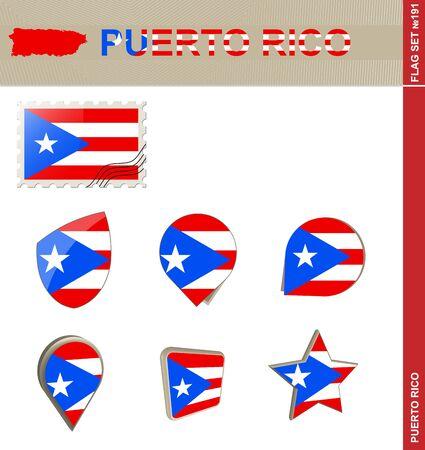 puerto rico: Puerto Rico Flag Set, Flag Set #191. Vector.