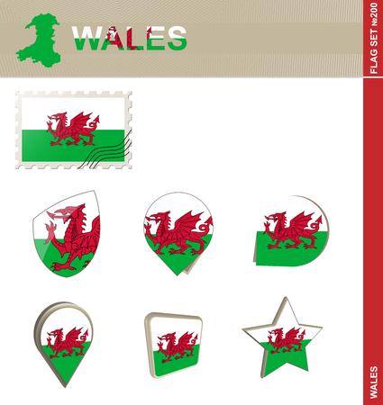 euro area: Wales Flag Set Illustration