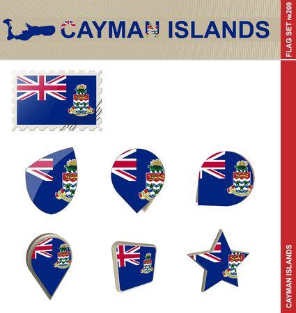 cayman islands: Cayman Islands Flag Set Illustration