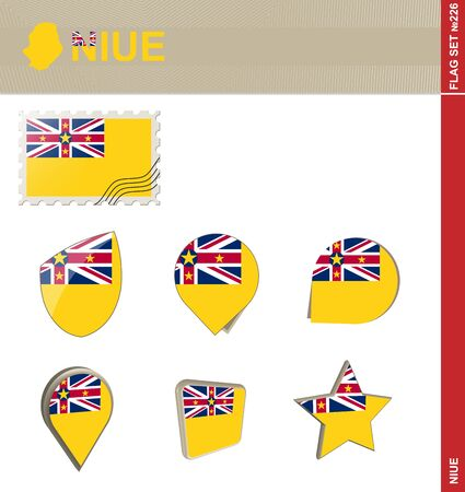 niue: Niue Flag Set Illustration
