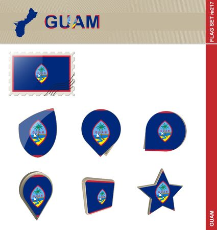 guam: Guam Flag Set, Flag Set #217. Vector. Illustration