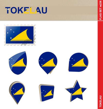 tokelau: Tokelau Flag Set Illustration