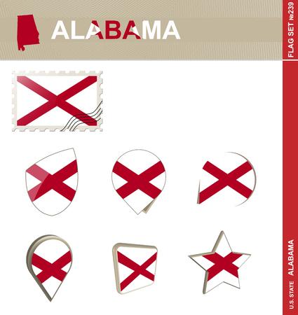 alabama flag: Alabama Flag Set, US state Illustration
