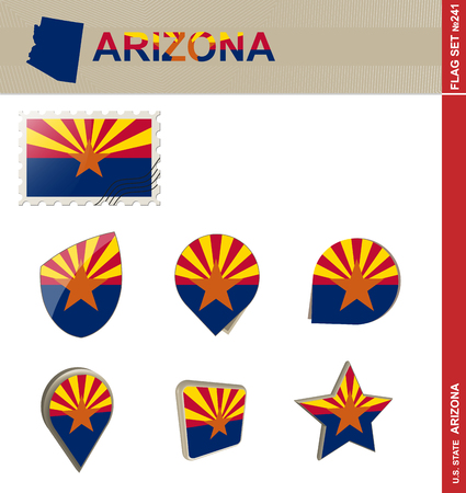 state of arizona: Arizona Flag Set, US state Illustration