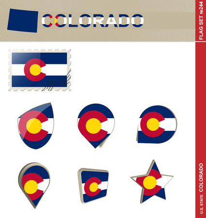 colorado flag: Colorado Flag Set, US state