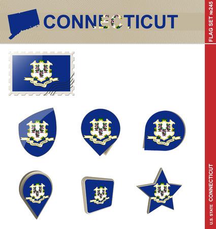 new england: Connecticut Flag Set, US stateVector. Illustration