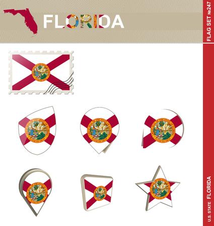 american history: Florida Flag Set, US state Illustration