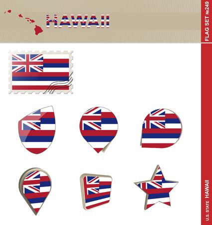 hawaii flag: Hawaii Flag Set, US state Illustration