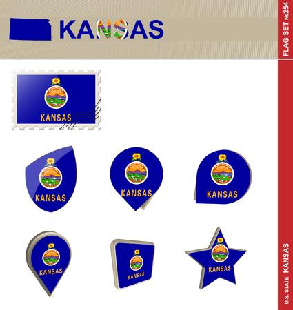 american history: Kansas Flag Set, US state