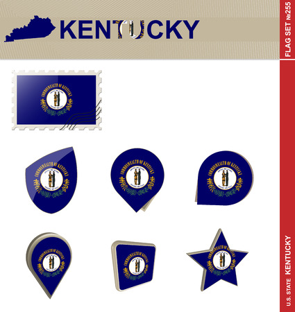 kentucky: Kentucky Flag Set, US state Illustration