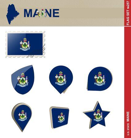 maine: Maine Flag Set, US state Illustration