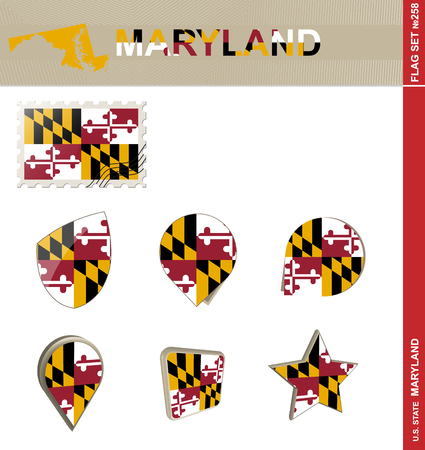 maryland flag: Maryland Flag Set, US state