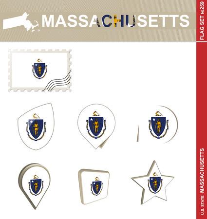 new england: Massachusetts Flag Set, US state Illustration