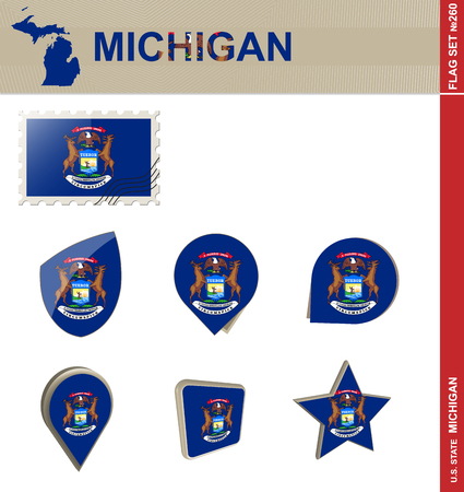 michigan flag: Michigan Flag Set, US state