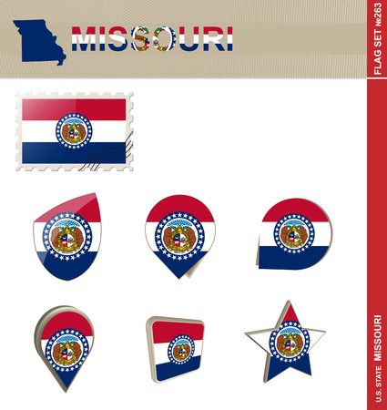 jefferson: Missouri Flag Set, US state Illustration