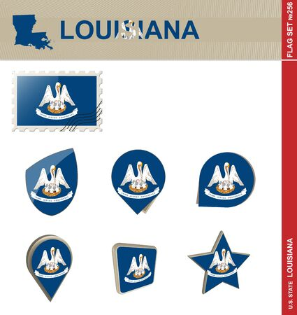 baton rouge: Louisiana Flag Set, US state
