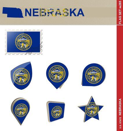 great plains: Nebraska Flag Set, US state