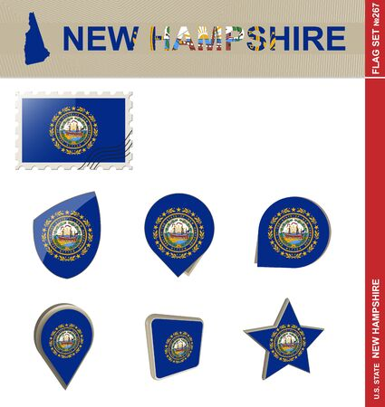 new england: New Hampshire Flag Set, US state