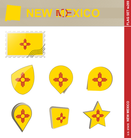 new mexico: New Mexico Flag Set, US state Illustration