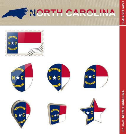 north carolina: North Carolina Flag Set, US state Illustration