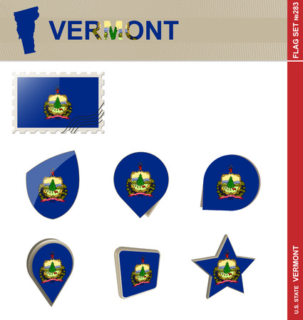 new england: Vermont Flag Set, US state