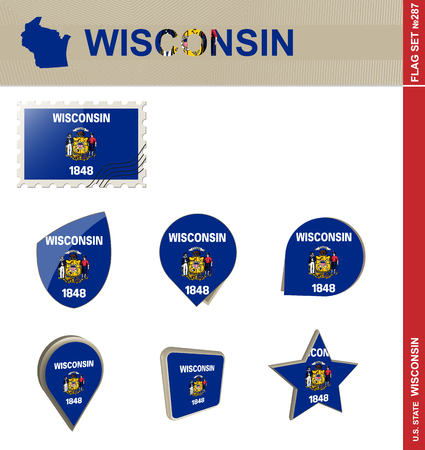 the great lakes: Wisconsin Flag Set, US state Illustration
