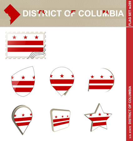 district columbia: District of Columbia Flag Set Illustration