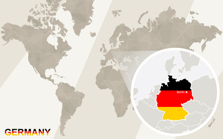 Zoom on france map and flag world map royalty free cliparts zoom on germany map and flag world map vector sciox Images