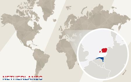 netherlands map: Zoom on Netherlands Map and Flag. World Map. Illustration