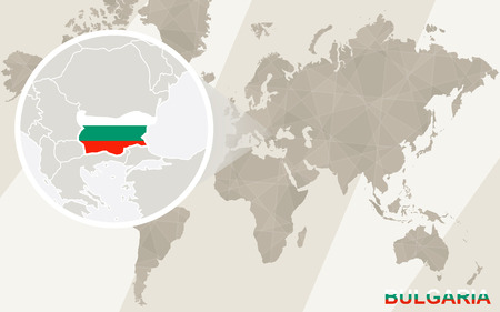 Zoom on Bulgaria Map and Flag. World Map.