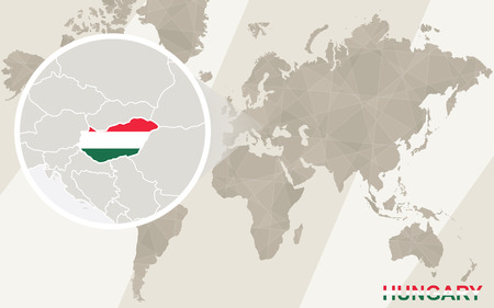 world flag: Zoom on Hungary Map and Flag. World Map. Illustration