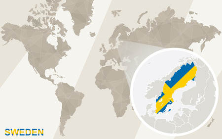 sweden map: Zoom on Sweden Map and Flag. World Map.